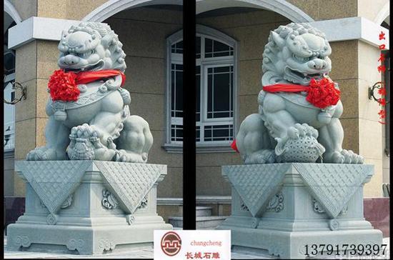 雄偉型石雕獅子的樣式雕刻